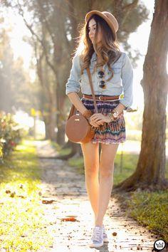 FashionCoolture - 06.08.2015 look du jour Slywear printed skirt denim shirt (1)