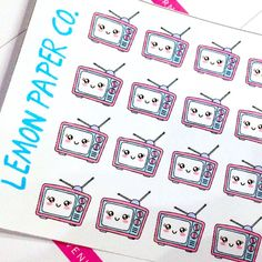 Retro Television TV Planner Stickers for Erin Condren, MAMBI, Kikki K, Filofax and others (Bright/Pastel)