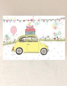lámina infantil de un coche amarillo