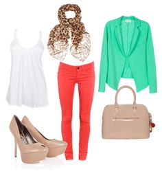 spring outfit idea!...i totally want coral jeans right now!