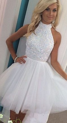 Hont Sale White Halter Beading Homecoming Dresses,Sparkly Short Homecoming Dress For Teens, Pretty Graduation Dresses,Modest Cocktail Dresses