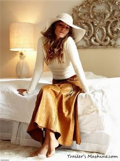 White long sleeve and brown skirt