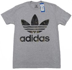 adidas Mens Gray Tee Shirt with Camo Logo Crew Brande Short Sleeve T-shirt #adidas #GraphicTee