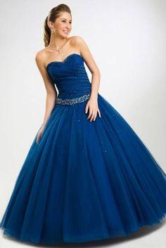 vestido azul petróleo para debutante