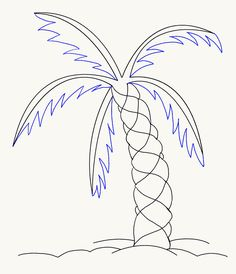 How to Draw a Palm Tree | Easy Drawing Guides Palm Tree Drawing Easy, Tree Painting Easy, Easy Paintings, Alphabet Code, Flower Step By Step, Pattern Drawing, Pencil Portrait, Smash Book, Tropical Flowers