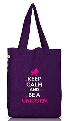 Keep Calm And Be A Unicorn, Einhorn Jutebeutel Stoff Tasche Earth Positive (ONE SIZE), Größe: onesize,Dark Violet