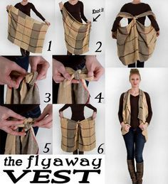 Make your scarf into a flyaway vest! Cute DIY :)