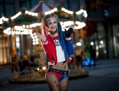 People 3802x2912 Harley Quinn women cosplay blonde dyed hair twintails smiling standing