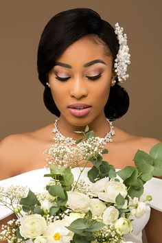 Here comes the bride Lessandra's Beauty Studio create classic bridal hair that is up-to-date and utterly romantic SEE DETAILS Black Bridal Makeup, Bridal Makeup Looks, Wedding Hair And Makeup, Bridal Beauty, Hair Makeup, Natural Hair Wedding, Natural Wedding Hairstyles, Black Brides Hairstyles, Bride Hairstyles