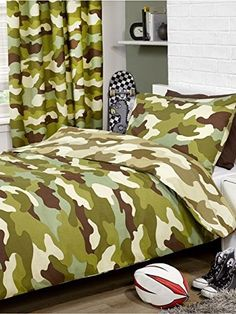 Kids' Duvet Covers - Army Camouflage Reversible Single Duvet and Pillowcase Set >>> See this great product.
