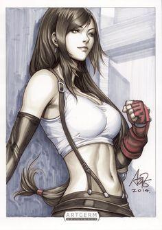 Final Fantasy VII Tifa Lockhart Original Art by Artgerm http://artgerm.deviantart.com/art/Tifa-Lockhart-Original-Art-490363276?q=gallery%3AArtgerm%2F157933&qo=1