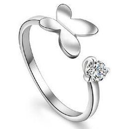 BIJOUX AAA zircon Zircon Korean fashion one winged Butterfly Ring free shipping