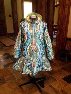 Alaska Summer Kitchen Rainpuk, Amy Butler Fabric, Raincoat Kuspuk for Women and Girls