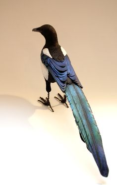 Hand made clay paper and wire Magpie sculpture. by ZackMclaughlin