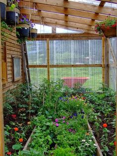 Have a lean-to greenhouse! They have the advantage of getting some heat from your house in winter, either heat that would be lost, or if it is very cold, you could open windows into the greenhouse to let your house heating system heat it. Much simpler a Lean To Greenhouse, Greenhouse Gardening, Greenhouse Ideas, Greenhouse Frame, Winter Greenhouse, Greenhouse Growing, Greenhouse Wedding, Outdoor Projects, Garden Projects