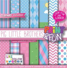 Baby shower Digital Paper clip art Backgrounds chevron Grass Patterns pink baby blue for Party Printables bottle labels favor boxes Printnfun 3.00 EUR
