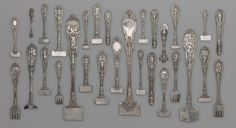RISD Museum: Gorham Manufacturing Company, American, 1831-; Florentin Antoine Heller, designer, French, 1839-1904. Mythologique Flatware Design Samples, 1894. Silver. Gift of Lenox, Incorporated 2005.118.42