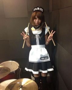 She is so cute and WOW can she play the DRUMS WOW,I LOVE HER.WOW!!!!!!!!! Japanese Girl Band, Tokio Hotel, Girl Bands, These Girls, Hard Rock, Maid, Cheer Skirts, Petticoats, My Favorite Things