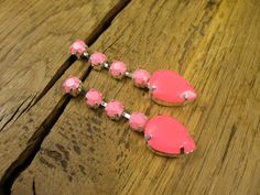 Beautiful Neon Pink and Baby Pink Crystal by rockspapermetal,