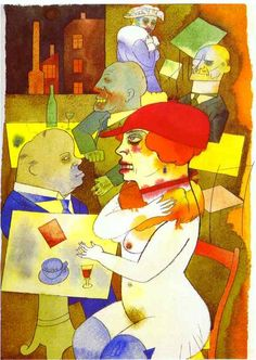 George Grosz was born in Berlin on this day in We're saluting the Dadaist, New Objectivist and Degenerative painter with his 1919 watercolour and ink piece 'Beauty, Thee Will I Praise'. Max Beckmann, Paula Modersohn Becker, George Grosz, Degenerate Art, Max Ernst, Art Abstrait, Online Art Gallery, Caricature, Modern Art