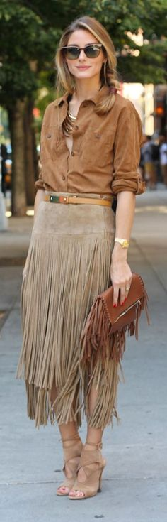 Olivia Palermo wearing a suede fringed skirt