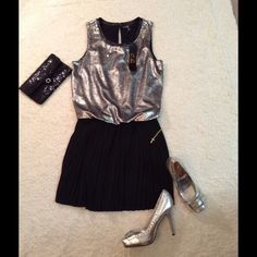 "Stunner NWT C Luce sequined dress   Just amazing, beautiful, one piece with sequined top., pleated skirt C Luce dress,  NWT , 33 inches in length, size small.  Free bonus black sequined clutch with jeweled clasp, Happy Holidays Please check out my closet  MissLela has your ❤️ ❤️ ""BundleLove ""❤️ ❤️ C Luce Dresses"