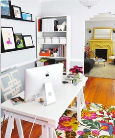 office  -lots of white is a must, for space to think but I love the yellow fireplace and brightly coloured carped to brighten things up.