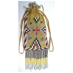 1890S APACHE MAIDEN'S BEADED BAG NATIVE AMERICAN INDIAN ART Socrates Mining Company, Middletown, Lake County, California Antiques and Collectibles Item Page found on Polyvore