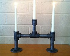3 Three Candle Industrial Candelabra