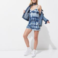 River Island - Petite - Blue Tie Dye Cami Playsuit | a sleeveless tie waist summer romper with adjustable cami shoulder straps.