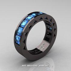 Mens Modern 14K Black Gold Princess Blue Topaz Channel Cluster Sun Wedding Ring…