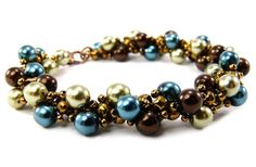 Pearl Bracelet Bronze Brown Blue Green Spiraling by BeadedSeasons