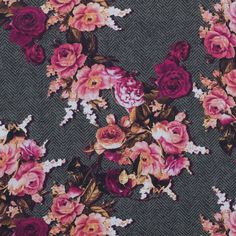 Pink and Gray Floral and Herringbone Printed Cotton Woven Fabric by the Yard | Mood Fabrics