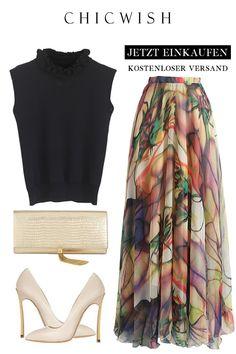 Watercolor chiffon maxi skirt - New Site Maxi Skirt Style, Maxi Skirt Outfits, Womens Maxi Skirts, Flare Skirt, Hijab Chic, Modest Fashion, Skirt Fashion, Hijab Fashion, Fashion Outfits