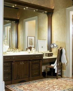 Love the tiny drawers on top of the vanity, great jewelry storage    by Witt Construction