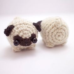 crochet pug amigurumi cute dog plush by mohustore on Etsy