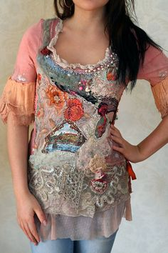 Baroque Vibes-  embroidered and beaded textile art collage t-shirt shabby chic