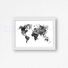 Schwarz / weiß-Weltkarte Aquarell Kunstdruck Art von Littlecatdraw