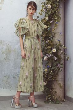 Luisa Beccaria Spring/Summer 2018 Resort - sage green Lavender floral jumpsuit