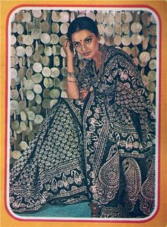 Bollywood actress Rekha. I love her garment, and the old-school shell hanging!