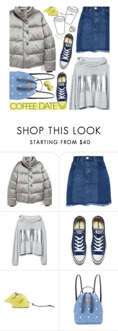 """""""Coffee Date"""" by beebeely-look ❤ liked on Polyvore featuring H&M, Converse, Loewe, Gucci, Hoodies, denimskirts, CoffeeDate and puffercoat"""