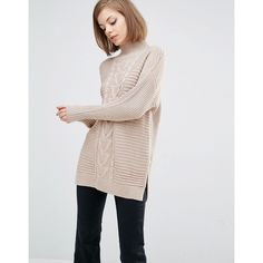 Lost Ink High Neck Boyfriend Jumper ($63) ❤ liked on Polyvore featuring tops, sweaters, beige, tall tops, cable-knit sweater, beige cable knit sweater, chunky cable knit sweater and beige sweater