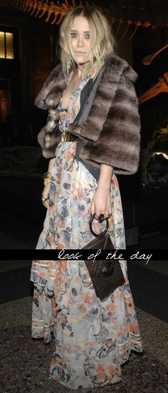 5760536769 Mary-Kate Olsen in a pretty floral maxi dress paired with a brown fur coat.