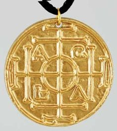 """Keep this magical amulet on your person to increase your chances for success, long life and safe travel. Made out of lead free pewter with a bronze-tone finish, this double sided amulet measures 1 3/8"""" in diameter and comes with an included black satin cord to wear it on. $7.95"""