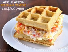 Whole Wheat Belgian Waffle Breakfast Omelet Sandwich