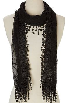 Women's lightweight Feminine lace teardrop fringe Lace Scarf Vintage Scarf Mesh Crochet Tassel Cotton Scarf for Women * You can find out more details at the link of the image.
