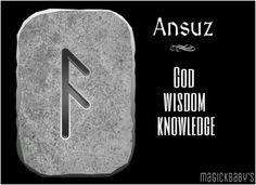 Ansuz Wiccan Runes, Norse Runes, Elder Futhark Runes, Norse Pagan, Viking Runes, Norse Mythology, Viking Symbols, Ancient Symbols, Mayan Symbols