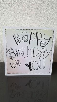 Happy Birthday 手書き, Happy Birthday Hand Lettering, Chalkboard Doodles, Chrismas Cards, Karten Diy, Bday Cards, Diy Notebook, Handmade Birthday Cards, Watercolor Cards