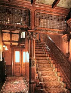 Or this grand staircase could be in the mansion of the Miller family on Seattle's Queen Anne Hill, where Eleanor works as a domestic. Victorian Interiors, Victorian Decor, Victorian Architecture, Beautiful Architecture, Victorian Homes, Architecture Details, Victorian Era, Foyers, Grande Cage D'escalier