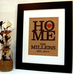 Burlap Monogram - Home is Where the Heart Is by BusyBeeBurlap